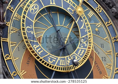 astronomical clock in old prague - stock photo