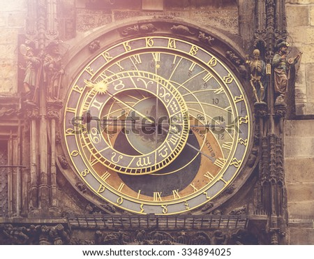 Astronomical Clock on Prague with vintage retro tone effect