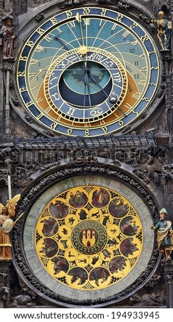 Astronomical clock on the town hall. Prague, Czech Republic - stock photo