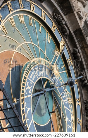 Astronomical clock tower in Prague, Czech Republic - detail of the main dial