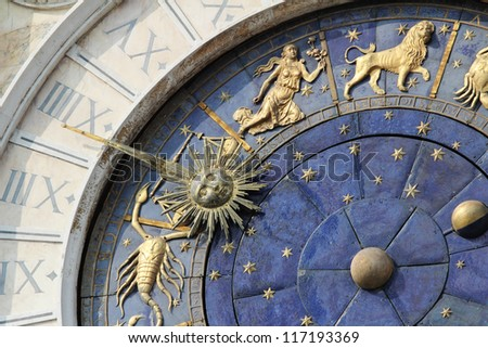Astronomical Clock Tower (Torre dell'Orologio) Details. St. Mark's Square (Piazza San Marko), Venice, Italy. Low Angle, Tilt view. - stock photo