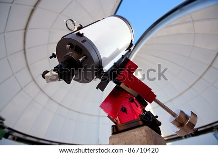 astronomical observatory telescope indoor blue sky [Photo Illustration] - stock photo
