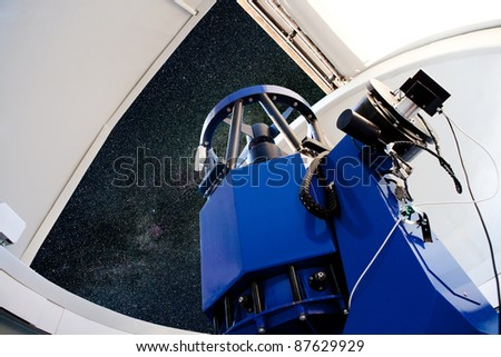 astronomical observatory telescope indoor night sky - stock photo