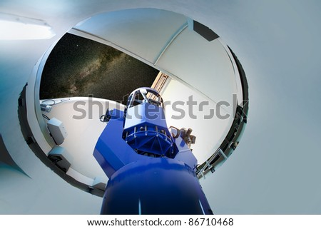 astronomical observatory telescope indoor night sky [Photo Illustration] - stock photo