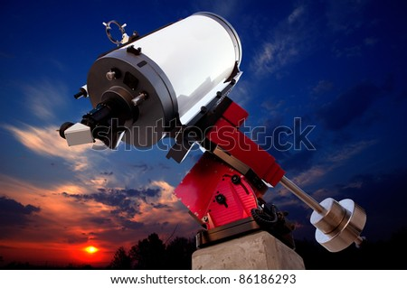 astronomical observatory telescope sunset dramatic sky [Photo Illustration] - stock photo