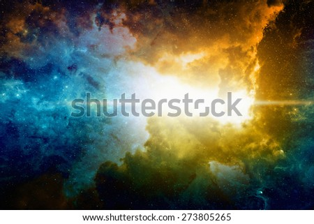 Astronomical scientific background, nebula and bright stars in deep space. Elements of this image furnished by NASA nasa.gov - stock photo