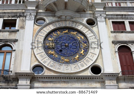 Astronomical St. Mark's Clock in the Clocktower on the Piazza San Marco, Venice, Italy