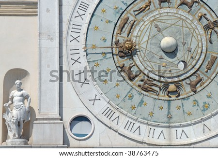 Astronomical wall clock in Padua (Italy)