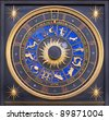 astronomical zodiac clock - stock photo