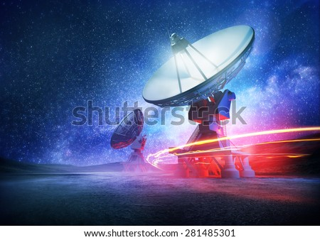 Astronomy deep space radio telescope arrays at night pointing into space. The milky way sets the background. Illustration. - stock photo