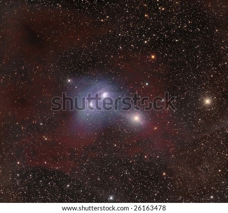 Astrophoto: stars surrounded by gases and molecular dusts in the sky - stock photo