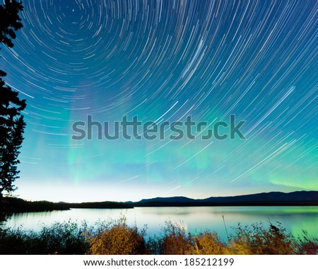 Astrophotography star trails on midsummer night sky with Aurora borealis or Northern Lights over shore willow bush at Lake Laberge, Yukon Territory, Canada - stock photo