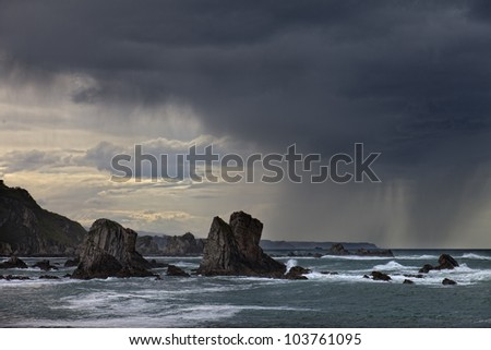 Asturias coastline a stormy day (Asturias,Spain) - stock photo