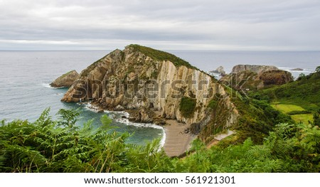 Asturias landscape in Spain. Silence Beach.