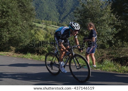 "ASTURIAS, SPAIN. September 07th 2015.Gianluca Bambrilla climbing to Ermita del Alba in the last meters of the 16th stage of ""La Vuelta"""