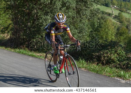 "ASTURIAS, SPAIN. September 07th 2015.Rodolfo Andres Torres Agudelo climbing to Ermita del Alba in the last meters of the 16th stage of ""La Vuelta"""