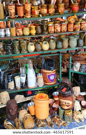 ASUNCION, PARAGUAY - DECEMBER 26: Display of mate cups at the street market on December 26, 2014 in Asuncion, Paraguay. Mate is a traditional South American caffeine-rich infused drink.