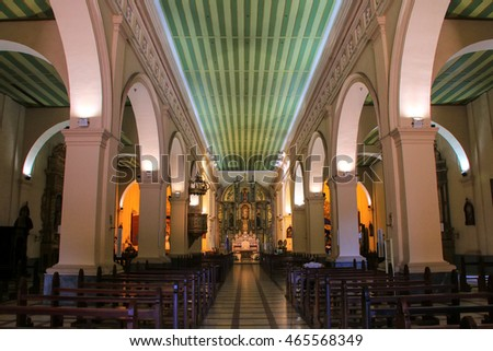 ASUNCION, PARAGUAY - DECEMBER 26: Interior of  Metropolitan Cathedral of Our Lady of the Assumption on December 26, 2014 in Asuncion, Paraguay. Asuncion is the capital and the largest city of Paraguay