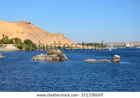 ASWAN, EGYPT � DECEMBER 1 2015: Aswan has a hot desert climate and the River Nile flows in the city.