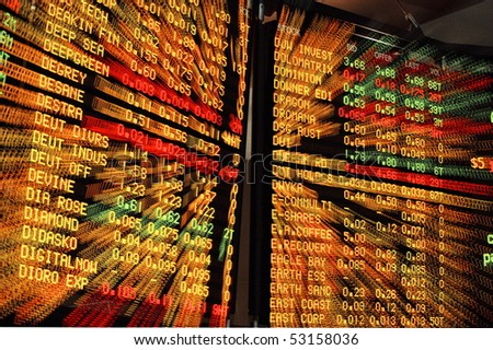 ASX Board In Melbourne zoom Effect - stock photo