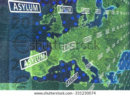 Asylum europe on map europe tapes stock illustration 331230074 asylum in europe on the map of europe are tapes with the word asylum from gumiabroncs Gallery