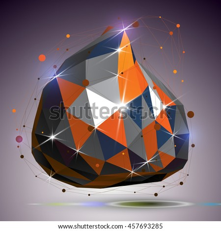 Asymmetric 3d technology glossy shape with connected lines and dots. Lattice bright engineering element, best for use in web design. Dimensional mesh object. - stock photo