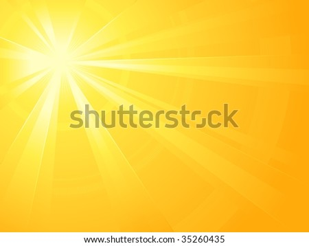 Asymmetric yellow orange light burst with the centre in the upper left third. Also available as vector.