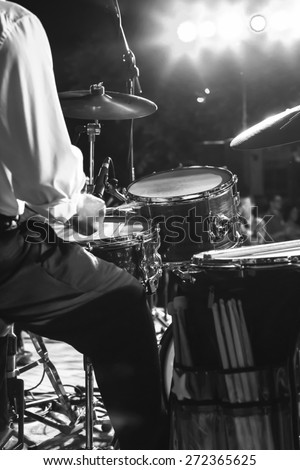 At a concert musician playing his instrument - stock photo