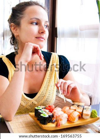At a Restaurant Japanese Cuisine Casual  - stock photo