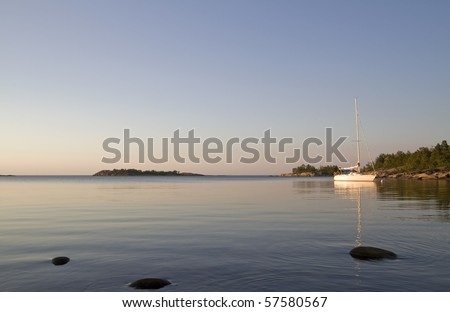 At anchor in Stockholm archipelago. - stock photo