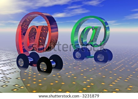 At cars race in a data world - stock photo