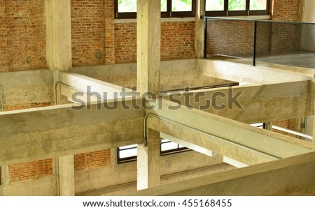 At construction site columns and beams - stock photo
