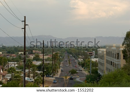 At Dusk: Road to Downtown of Phoenix, Arizona - stock photo