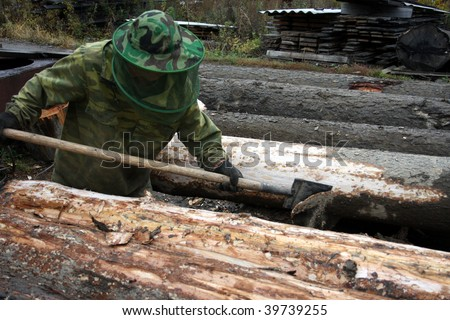 At first, it is necessary to remove a bark from a log, and then to saw on boards - stock photo