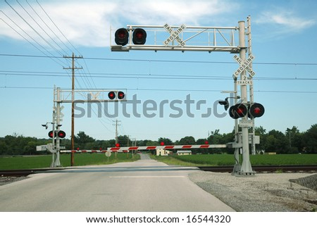 At Grade Railroad Crossing - stock photo