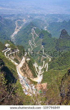 At Heavenly Mountain. Zhangjiajie mountains. The province of Hunan. China is. - stock photo
