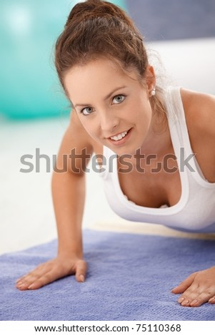 at home, smiling.? - stock photo