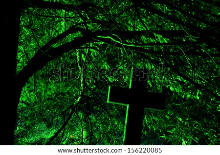 at night at the graveyard - stock photo