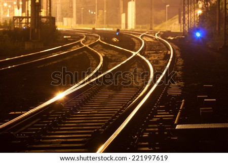 at night illuminated with blue lights track - stock photo