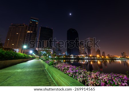 At Night of Benchakitti Park Bangkok Thailand
