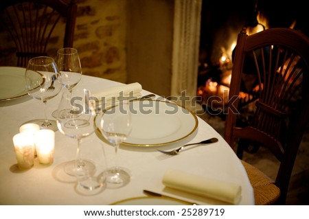 at restaurant with warm ambiance, close up table - stock photo