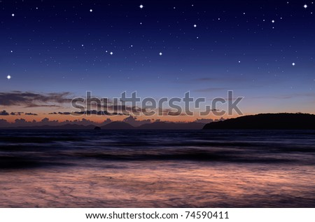 At sea early in the evening - stock photo