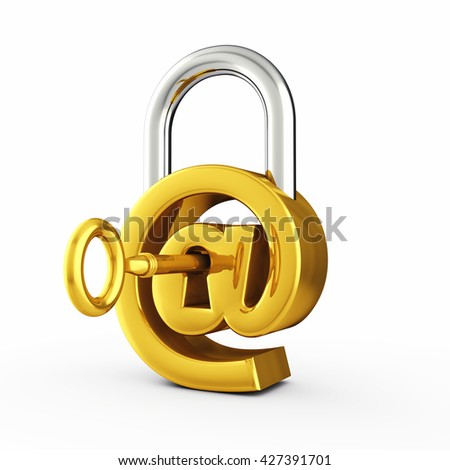 At sign as padlock , Secure email password , Online security , 3d illustration