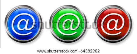 At Sign 3-D RGB Buttons - stock photo