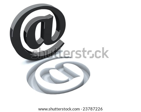 At sign, Global symbol of internet an  in black metal - stock photo