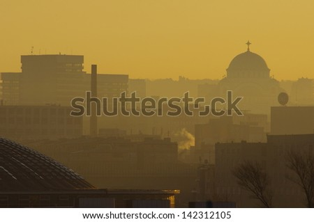 At sunny morning Metropolis is slowly waking up for a new day - stock photo