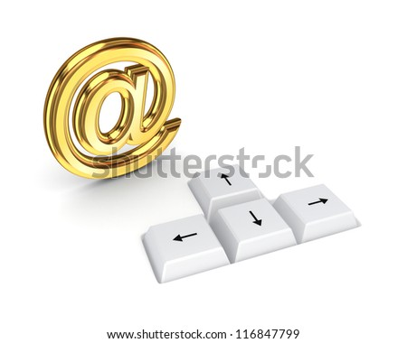 AT symbol and keyboard buttons.Isolated on white background.3d rendered. - stock photo