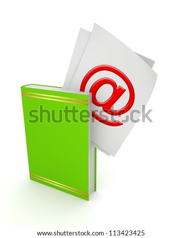 AT symbol in a green book.Isolated on white background.3d rendered. - stock photo