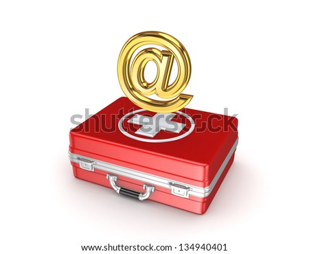AT symbol on medical case.Isolated on wihte background.3d rendered. - stock photo