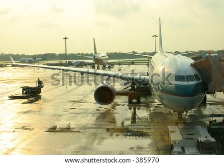 At the airport - stock photo